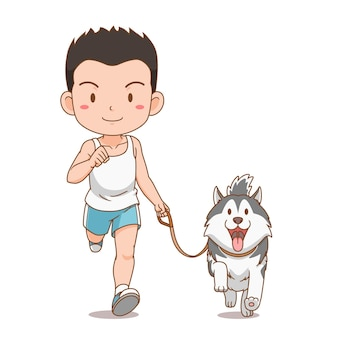 Personaje de dibujos animados de niño corriendo con perro husky siberiano.
