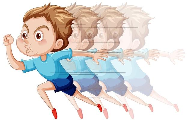 Personaje de dibujos animados de niño corriendo sobre fondo blanco
