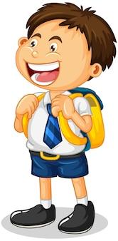 Un personaje de dibujos animados de niño estudiante aislado sobre fondo blanco