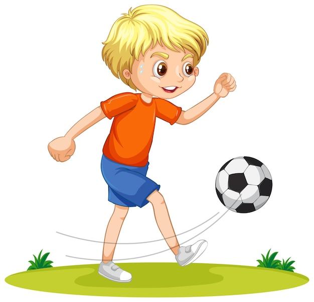 Un personaje de dibujos animados de niño jugando al fútbol.