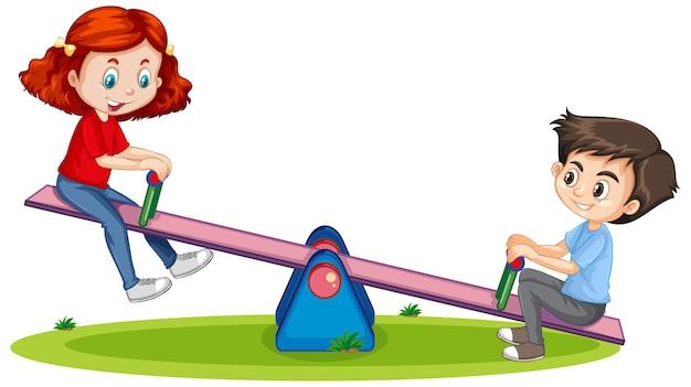 Personaje de dibujos animados niño y niña jugando balancín en blanco