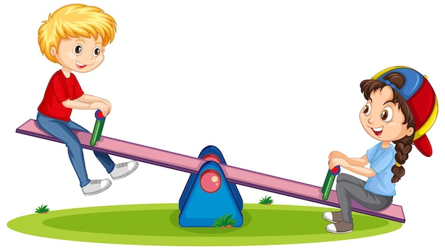 Personaje de dibujos animados niño y niña jugando balancín sobre fondo blanco