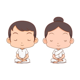 Personaje de dibujos animados de niño y niña meditando en ropa blanca.