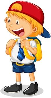 Personaje de dibujos animados de niño pequeño con uniforme de estudiante