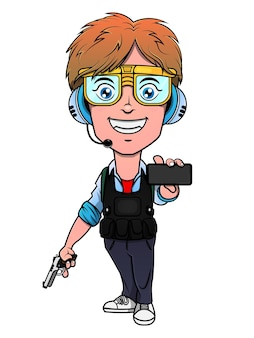 Personaje de dibujos animados de niño sosteniendo una pistola y mostrando un teléfono inteligente con gafas de chaleco antibalas y auriculares