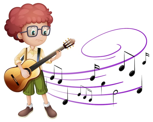 Personaje de dibujos animados de un niño tocando la guitarra con símbolos de melodía