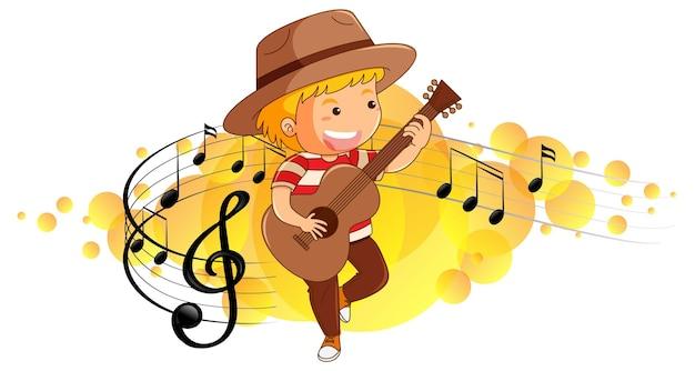 Personaje de dibujos animados de un niño tocando la guitarra sobre fondo de símbolos de melodía
