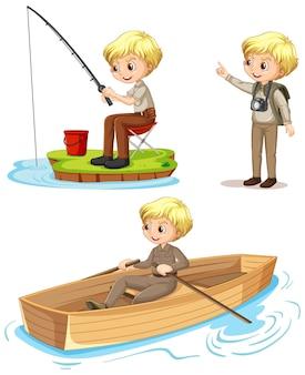 Personaje de dibujos animados de un niño con trajes de campamento realizando diferentes actividades