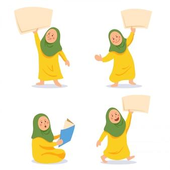 Personaje de dibujos animados de niños musulmanes tienen papel en blanco. adecuado para la ilustración del tema islámico.