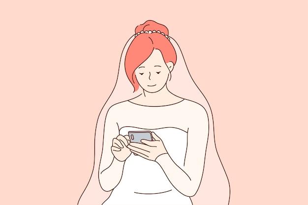 Personaje de dibujos animados de novia con teléfono inteligente para red social
