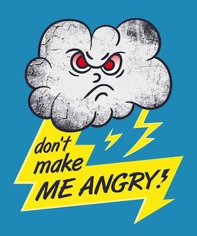 Personaje de dibujos animados de la nube malvada con un rayo