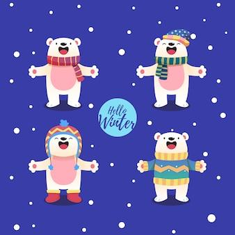 Personaje de dibujos animados de oso polar con un tema de invierno