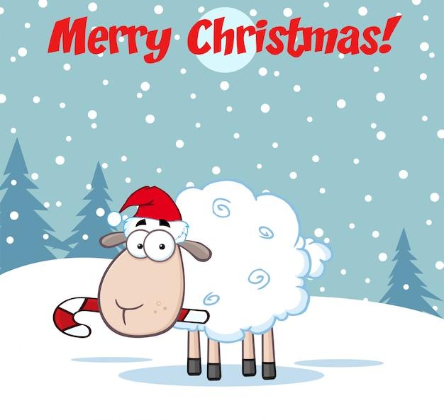 Personaje de dibujos animados de ovejas de navidad. tarjeta de felicitación de ilustración