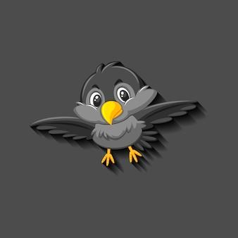 Personaje de dibujos animados de pájaro negro