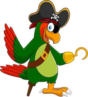 Personaje de dibujos animados de pájaro pirata loro agitando. ilustración aislada sobre fondo blanco