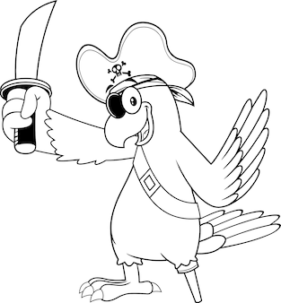 Personaje de dibujos animados de pájaro pirata loro blanco y negro con espada. ilustración
