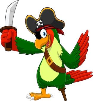 Personaje de dibujos animados de pájaro pirata loro con espada. ilustración aislada sobre fondo blanco