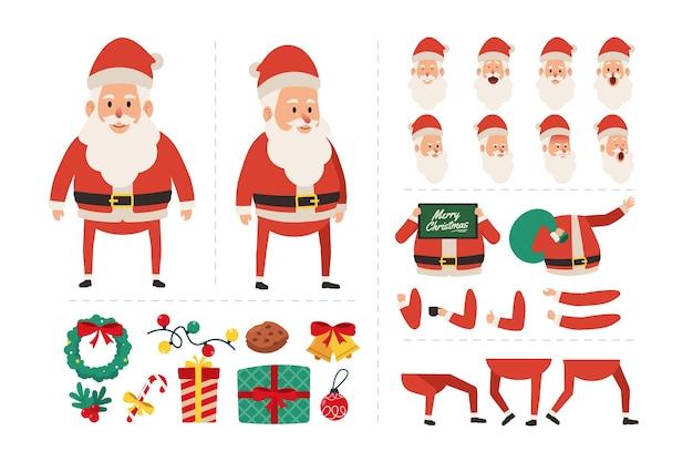 Personaje de dibujos animados de papá noel con varias expresiones faciales, gestos con las manos, ilustración de movimiento de cuerpo y pierna para animación de movimiento navideño