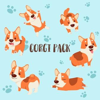 Personaje de dibujos animados paquete corgi