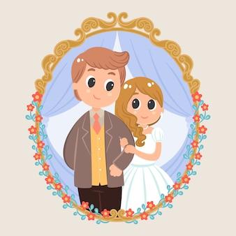 Personaje de dibujos animados de pareja de boda con fondo floral vintage marco victoriano