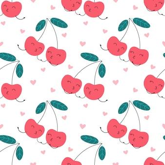 Personaje de dibujos animados de patrones sin fisuras de cereza en el amor, dulce beso.