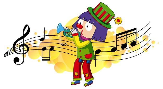 Personaje de dibujos animados de un payaso toca la trompeta con símbolos de melodía musical