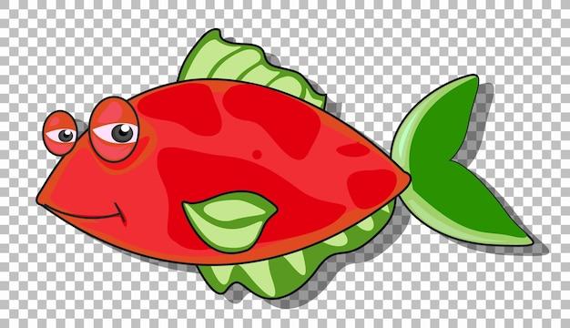 Un personaje de dibujos animados de peces aislado sobre fondo transparente