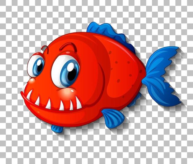 Personaje de dibujos animados de peces exóticos rojos sobre fondo transparente