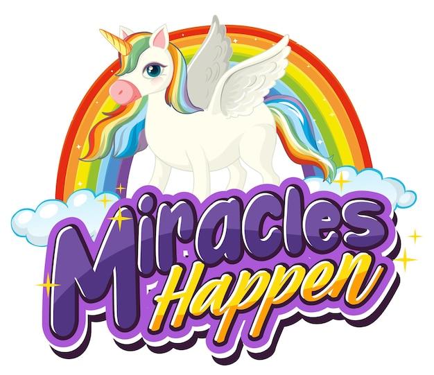 Personaje de dibujos animados de pegaso con banner de fuente miracles happen