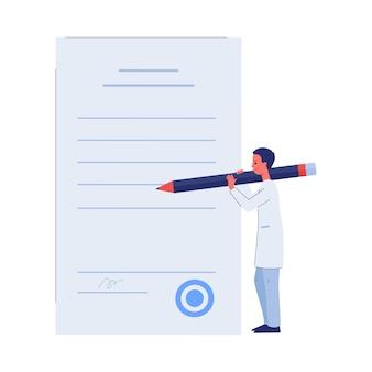 Personaje de dibujos animados de pequeño doctor haciendo marcas en la lista de verificación para exámenes médicos, plano aislado sobre fondo blanco. seguro médico y sanitario.