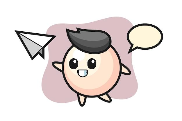 Personaje de dibujos animados de perlas lanzando avión de papel