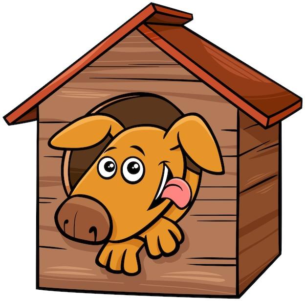 Personaje de dibujos animados perro animal en caseta de perro