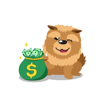 Personaje de dibujos animados perro chow con bolsa de dinero