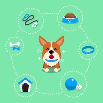 Personaje de dibujos animados perro corgi y accesorios