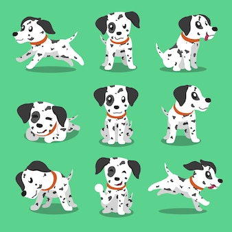 Personaje de dibujos animados perro dálmata poses