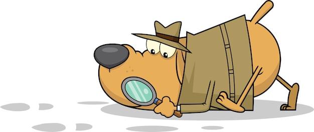 Personaje de dibujos animados de perro detective siguiendo pistas.