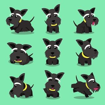 Personaje de dibujos animados perro escocés terrier plantea