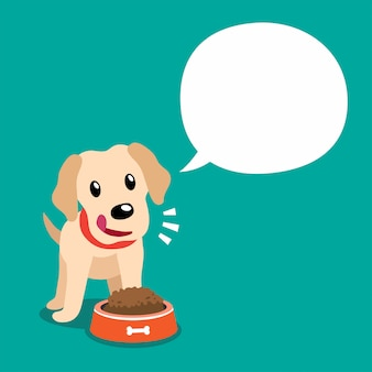 Personaje de dibujos animados perro labrador y bocadillo blanco