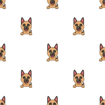 Personaje de dibujos animados perro pastor alemán sin fisuras de fondo