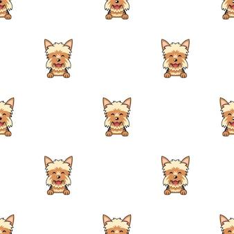 Personaje de dibujos animados perro yorkshire terrier de patrones sin fisuras