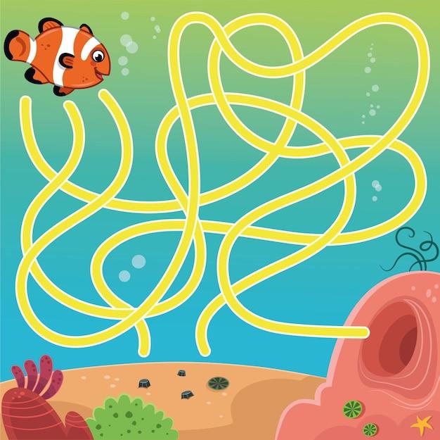 Personaje de dibujos animados de pescado en la ilustración de vector de juego de laberinto