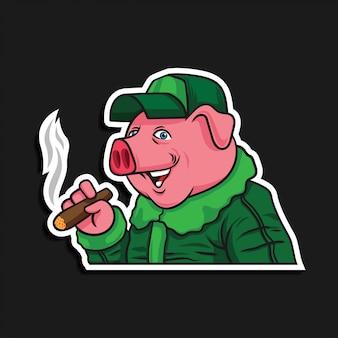 Personaje de dibujos animados piloto de cerdo con cigarrillo