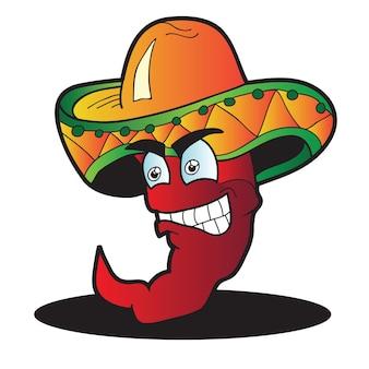 Personaje de dibujos animados de pimienta mexicana - ilustración vectorial