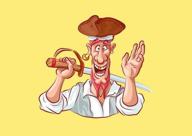 Personaje de dibujos animados pirata mascota espada sonriendo ola hola diseño de la mano