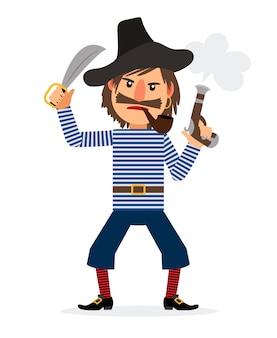 Personaje de dibujos animados pirata con pipa de fumar