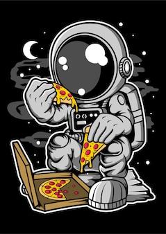 Personaje de dibujos animados de pizza de astronauta