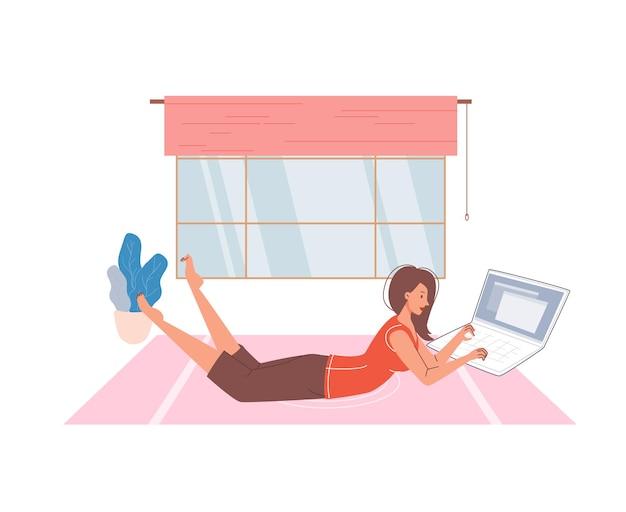 Personaje de dibujos animados plana navegando por internet interior en casa interior ilustración