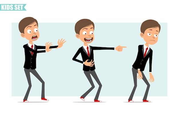 Personaje de dibujos animados plano divertido chico de negocios en chaqueta negra con corbata roja. niño asustado, triste, cansado y mostrando una sonrisa malvada. listo para la animación. aislado sobre fondo gris. conjunto.