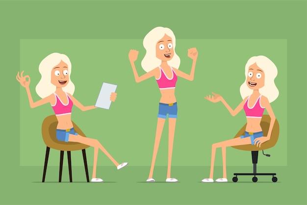 Personaje De Dibujos Animados Plano Divertido Deporte Mujer En Pantalones Cortos De Camisa Y Jeans Chica Leyendo Nota Mostrando Musculos Y Signo Bien Vector Premium