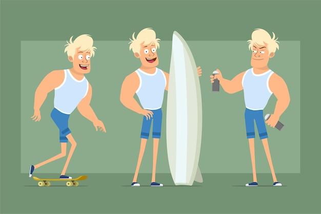 Personaje de dibujos animados plano divertido deportista fuerte en camiseta y pantalones cortos. niño montado en patineta, sosteniendo la tabla de surf y lata de pintura en aerosol. listo para la animación. aislado sobre fondo verde. conjunto.